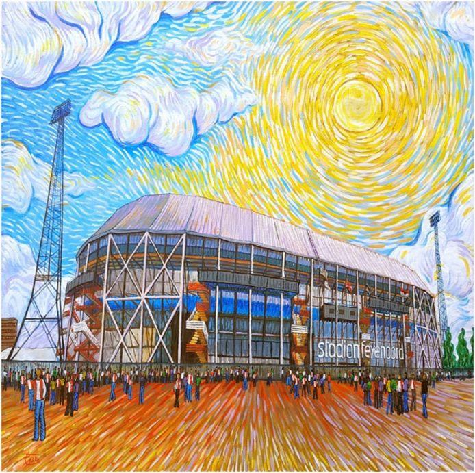 De Kuip in Rotterdam als schilderij van Van Gogh.