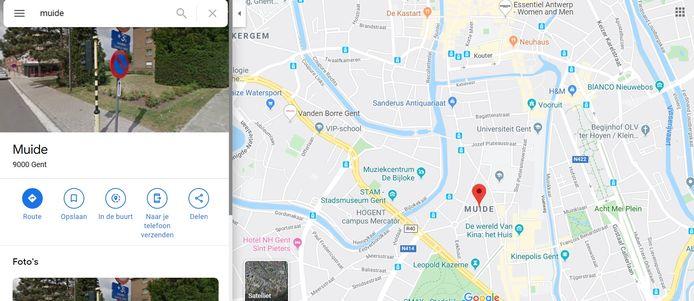 Google Maps situeert de Muide verkeerdelijk in het centrum van Gent.