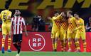 Barcelona viert een doelpunt.