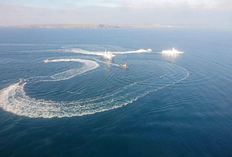 Drie Oekraïense marineschepen.  Beeld TASS