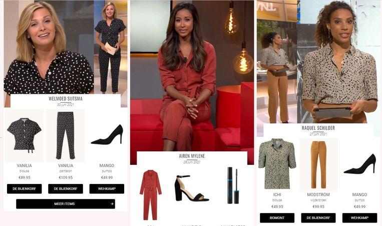 Alle outfits van presentatrices worden verzameld. Beeld Screenshot Style Like.