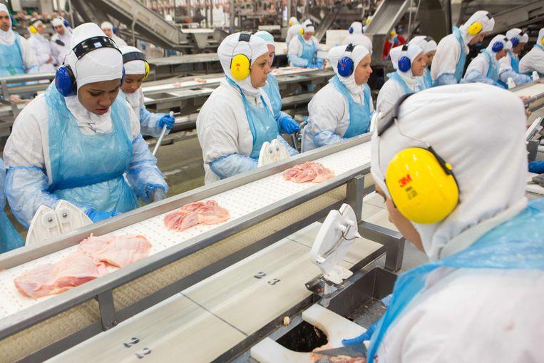 Medewerkers in een van de JBS-fabrieken in de VS.  Beeld AFP