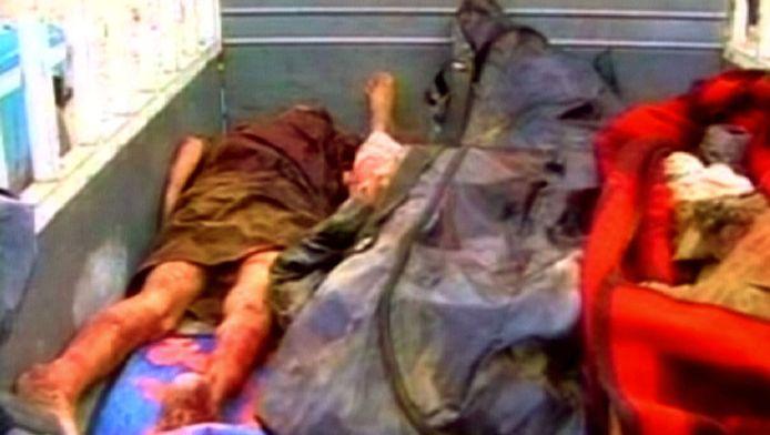 Still van een video die indertijd van de lichamen in Haditha is gemaakt door een Irakese mensenrechtenorganisatie. © ANP