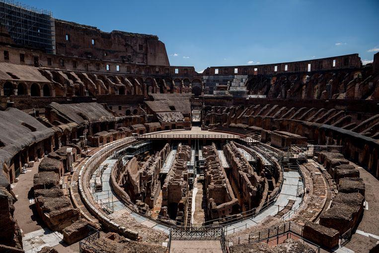 Het Colosseum in Rome op 1 juni 2020, toen het monument weer opengesteld werd voor publiek na de eerste lockdown. Beeld Getty Images