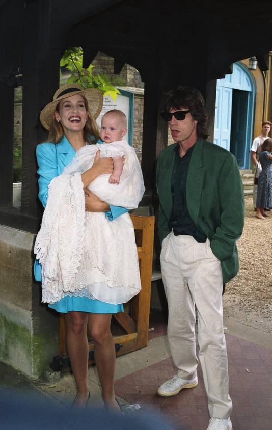 Hall en Jagger in 1984 met hun dochter Elisabeth.