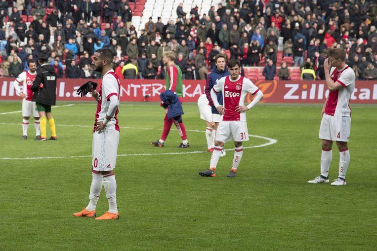 Ajacieden Hakim Ziyech , Nico Tagliafico en Matthijs de Ligt reageren ontgoocheld na het doelpuntloze gelijkspel in de eigen Arena tegen ADO Den Haag. Beeld ANP Pro Shots
