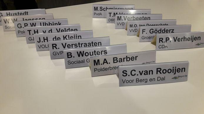 De politieke bordjes in Berg en Dal worden momenteel verhangen.