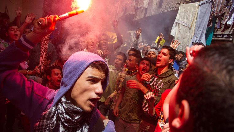 Aanhangers van de Moslimbroederschap vorige maand in Caïro. Beeld AP