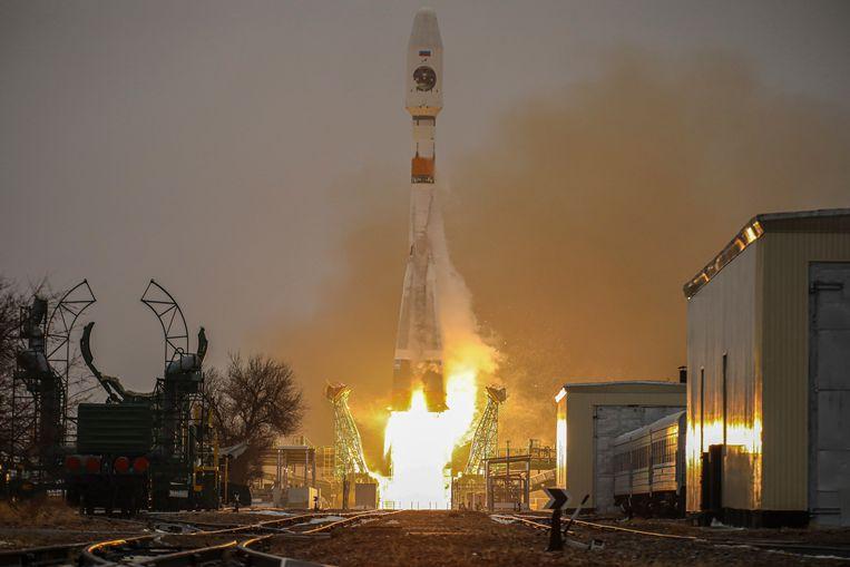De lancering van een Russische Roscosmos-raket in februari 2021. CREDIT HANDOUT EDITORIAL USE ONLY/NO SALES Beeld EPA