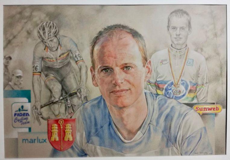 De mooie pentekening van kunstenaar Marc Verbraeken die Pauwel overhandigd kreeg.