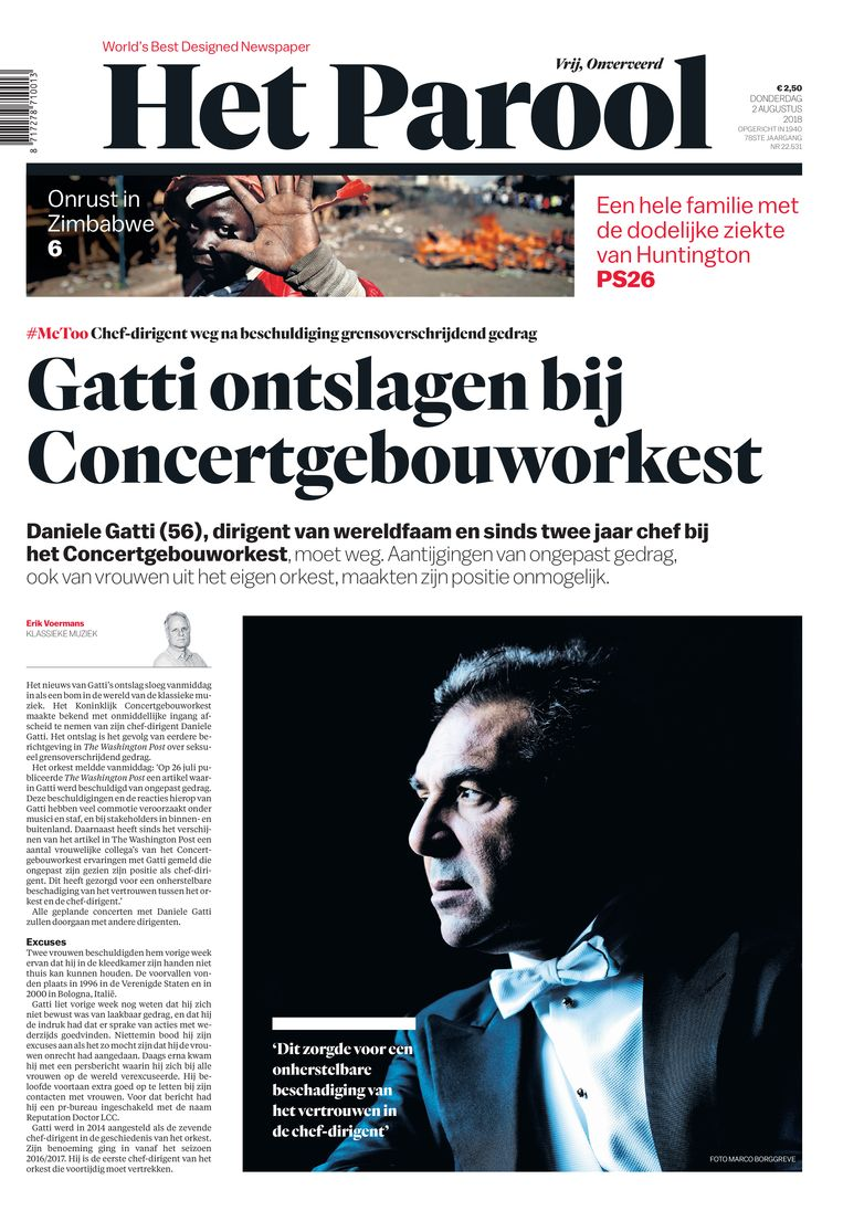 De voorpagina van 2 augustus 2018 werd snel omgegooid, toen het nieuws binnenkwam over Gatti. Beeld Het Parool