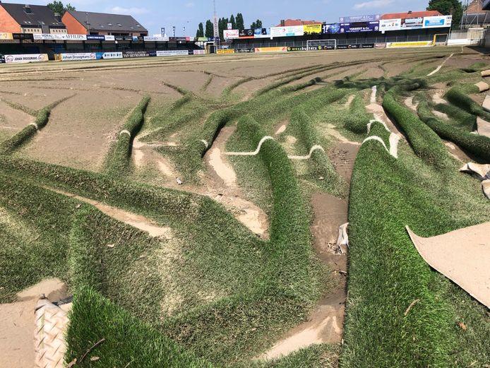 De grasmat van KVK Tienen is helemaal verloren.