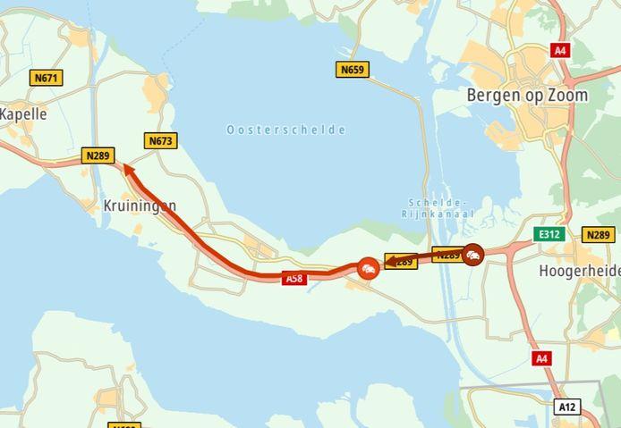De verkeerssituatie op zaterdagmiddag om 17.57 uur.