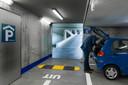 Een nagebouwde ondergrondse parkeergarage. Hier is de veiligheidsbeleving te beïnvloeden met de verlichting.