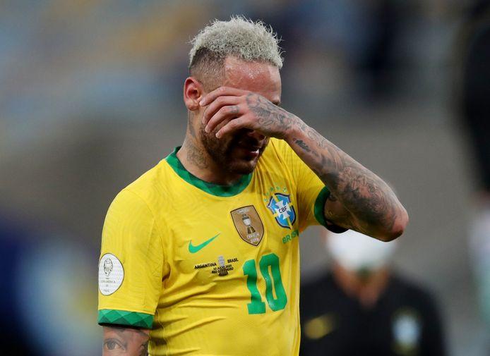 Neymar lors de la défaite du Brésil face à l'Argentine et finale de la Copa America, le 10 juillet 2021.