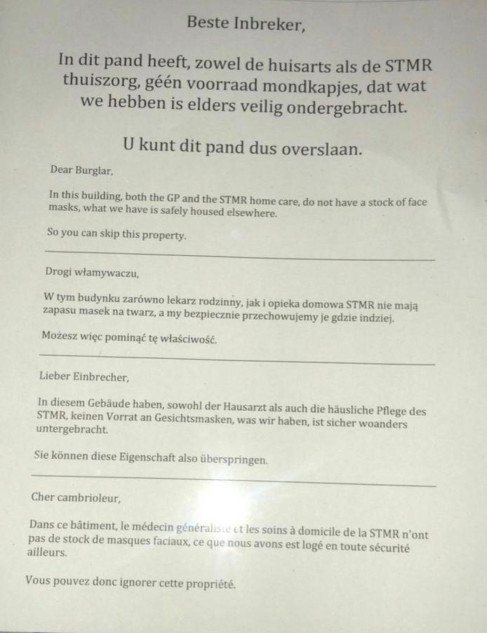 De brief die bij meerdere huisartsenpraktijken in de Bommelerwaard voor het raam hangt.