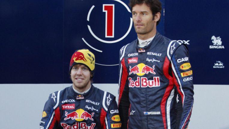De nummers 1 en 2 in de WK-stand van de formule 1, Sebastian Vettel (l) en Mark Webber. Beeld