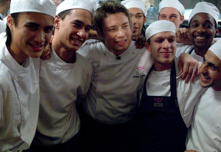 Jamie Oliver bij de opening in Amsterdam in 2004 Beeld Amaury Miller