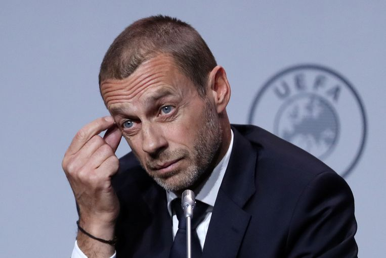 Uefa-voorzitter Aleksander Ceferin, begin maart tijdens een congres in Amsterdam.  Beeld REUTERS