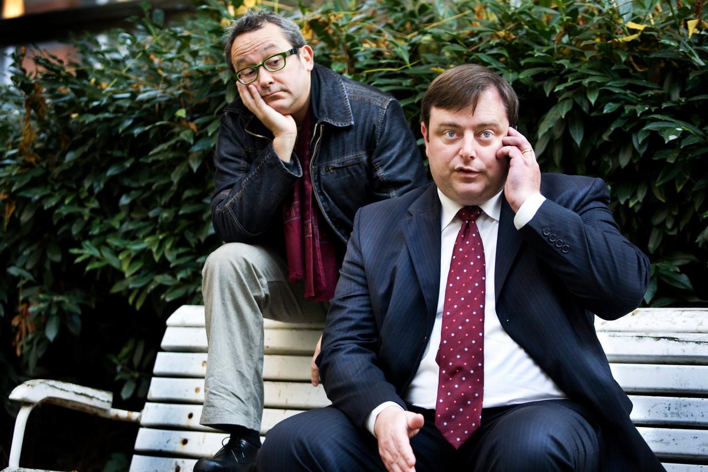 Tom Lanoye en Bart De Wever, samen in gesprek na de verkiezing van Obama. Beeld Tim Dirven