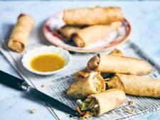 Chinese loempia's met zoete mosterdsaus