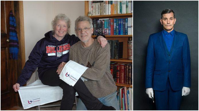 Michael en Helen zijn erg blij met de handdoekjes van de Antwerpse universiteit. Rechts: Koen De Bouw vertolkt de rol van professor Jasper Teerlinck.