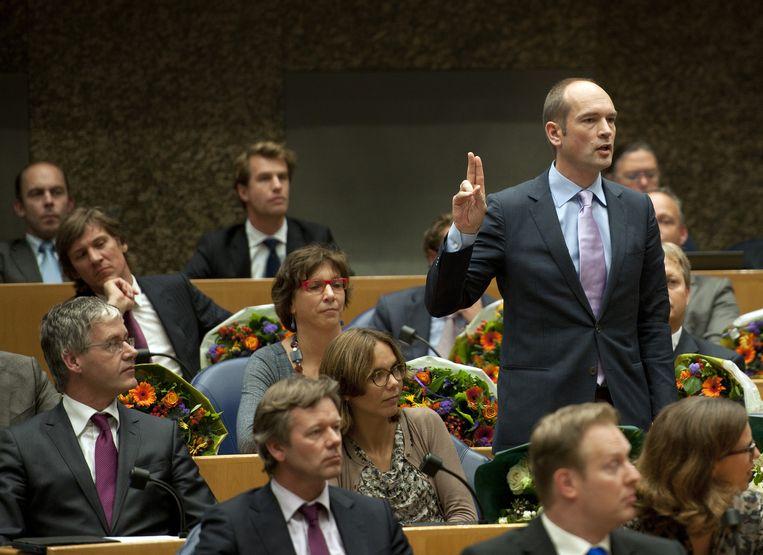 Gert-Jan Segers wordt als ChristenUnie-Kamerlid beëdigd in de Tweede Kamer. Beeld anp