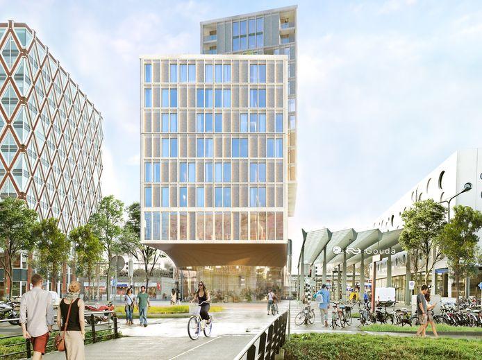 Vooraanzicht van het nog te bouwen hotelgebouw met daarboven appartementen in het noordelijk stationsgebied (Bloemendaalzijde) in Gouda.