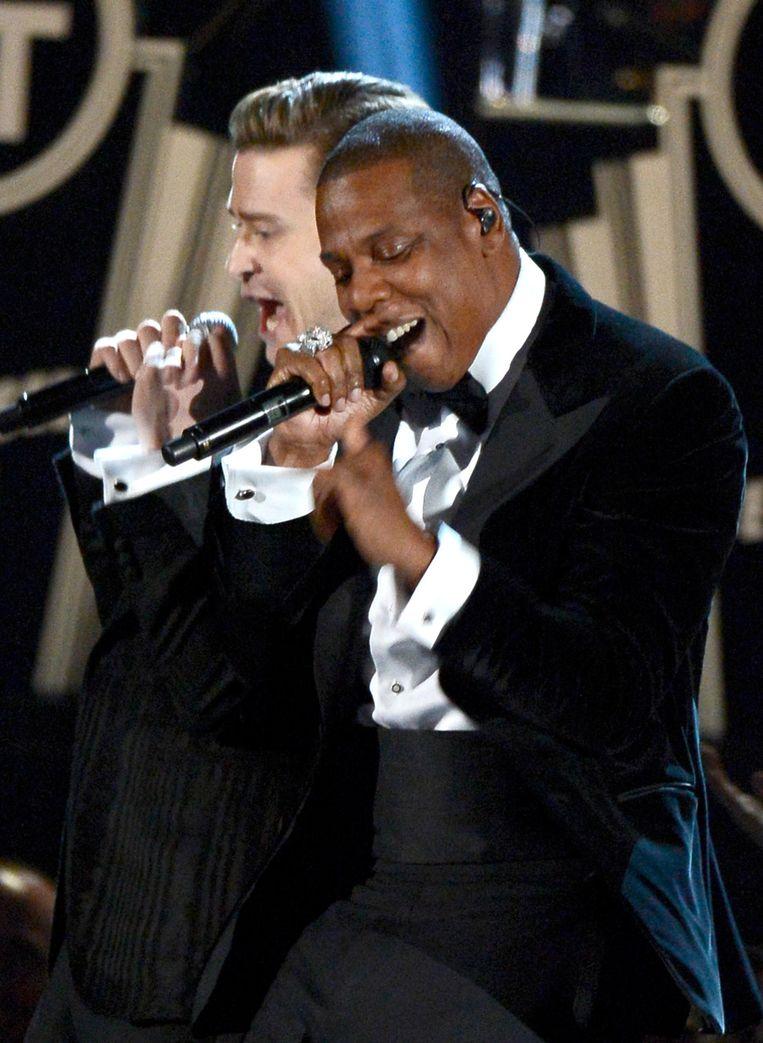 Justin Timberlake en Jay-Z op de Grammy Awards in Los Angeles. Beeld GETTY