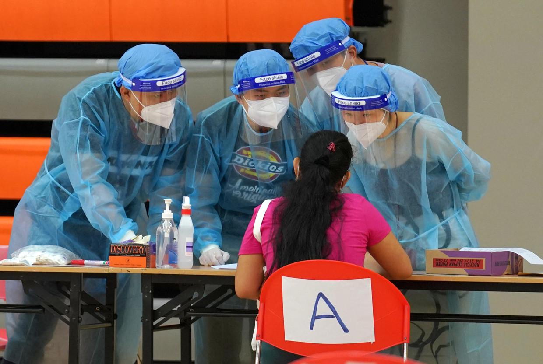 Een testcentrum in China Beeld China News Service via Getty Ima