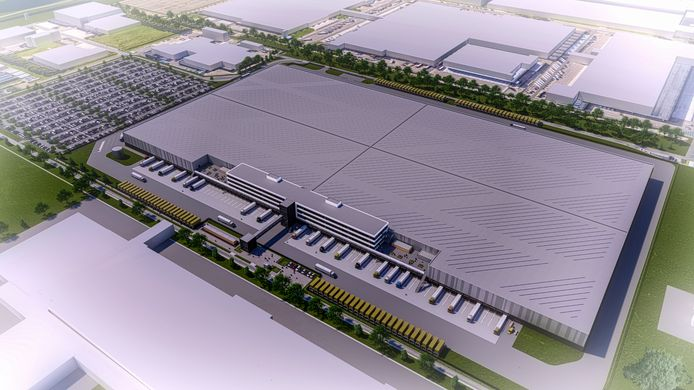 Artist Impression van het nieuwe distributiecentrum dat Zalando bij Bleiswijk laat bouwen.