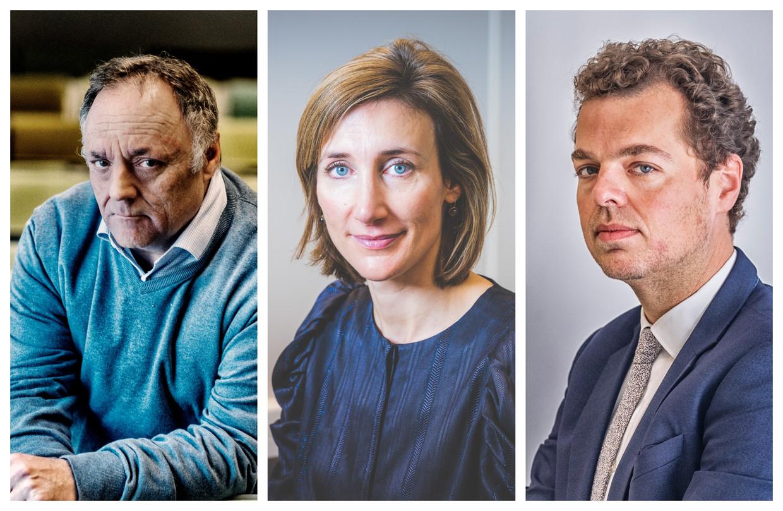 Viroloog Marc Van Ranst, professor Isabel Leroux-Roels, coronacommissaris Pedro Facon. Beeld DM
