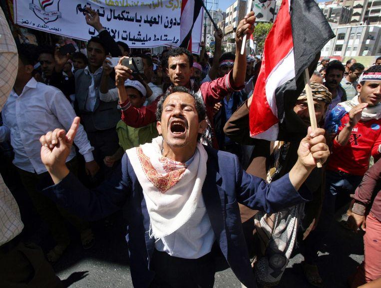 Op 11 februari dit jaar werd in Taiz nog gedemonstreerd tegen het geweld van de Houthi's Beeld anp