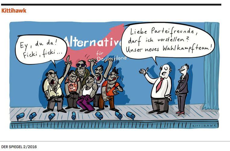 Cartoon uit Der Spiegel. Twee leden van de AfD stellen 'het nieuwe campagneteam' voor. Beeld kittihawk