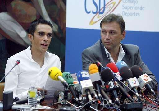 Johan Bruyneel et Alberto Contador.
