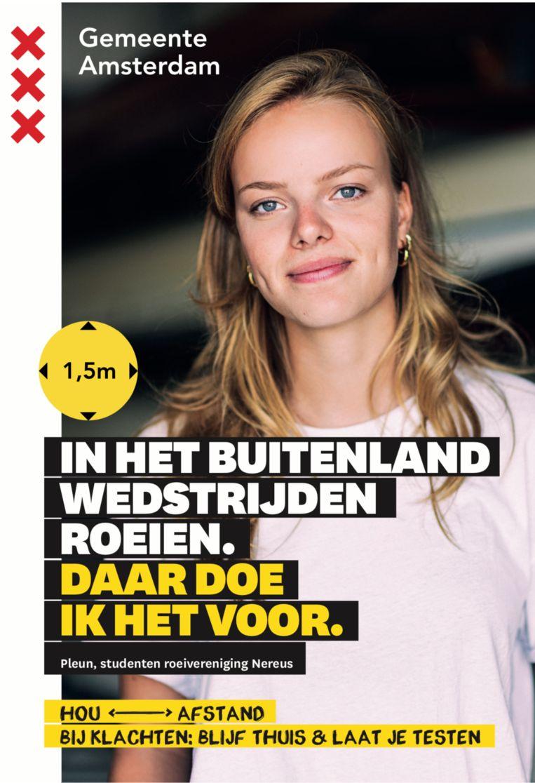 Een van de posters in de studentencoronacampagne 'Daar doen we het voor'. Beeld Gemeente Amsterdam