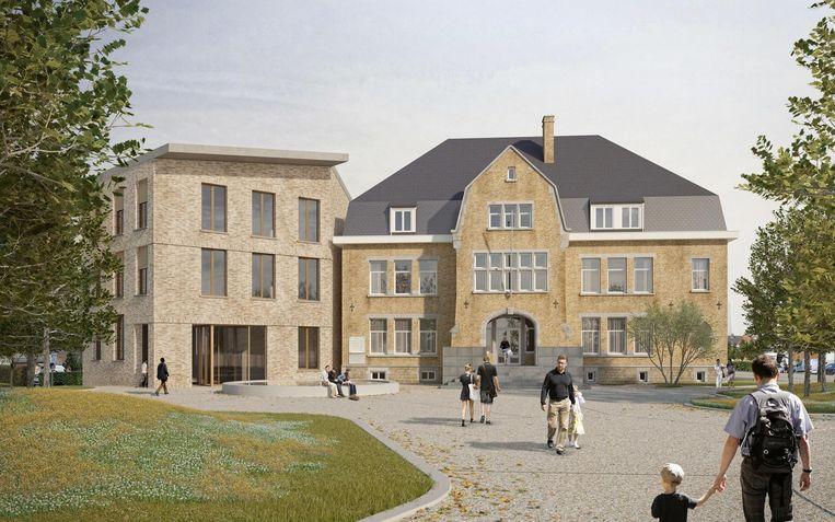 Links van het bestaande gemeentehuis zal er een nieuwbouw komen.