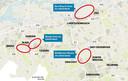 De twee zoekgebieden (links) die het EIB in gedachten heeft voor de stedelijke regio Breda-Tilburg.