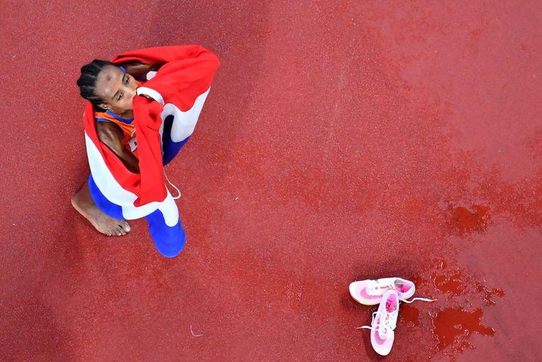 Sifan Hassan werd derde in de finale op de 1500 meter.  Beeld AFP