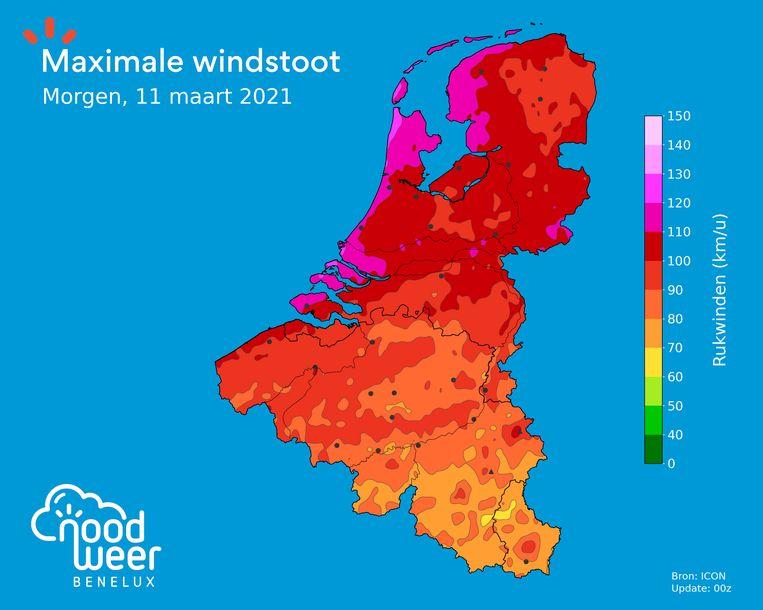 Deze weerkaart voorspelt de maximale windstoten op donderdag. Beeld NoodweerBenelux