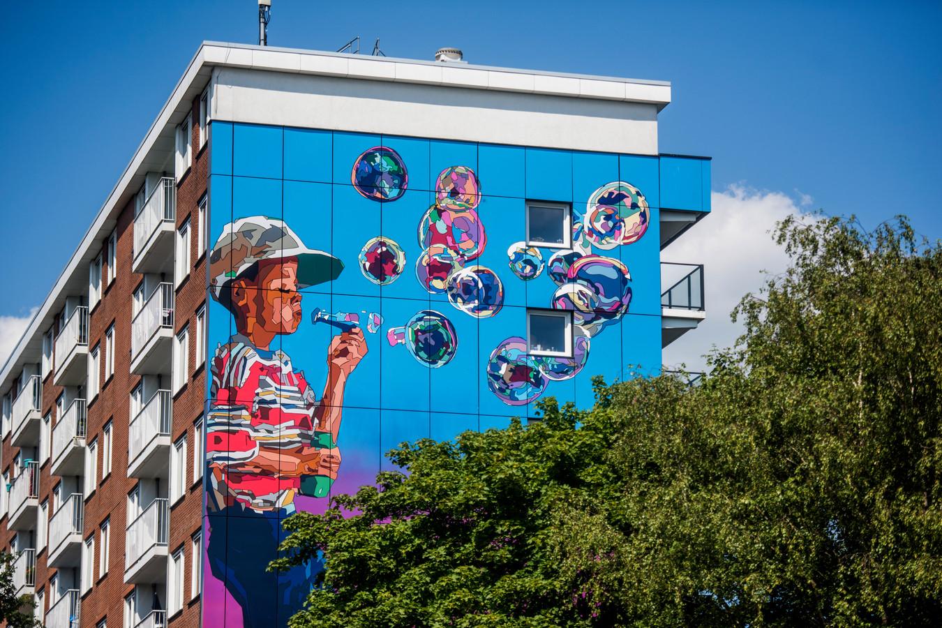 Kunst op de Pucciniflat in Tilburg-Noord (archieffoto).