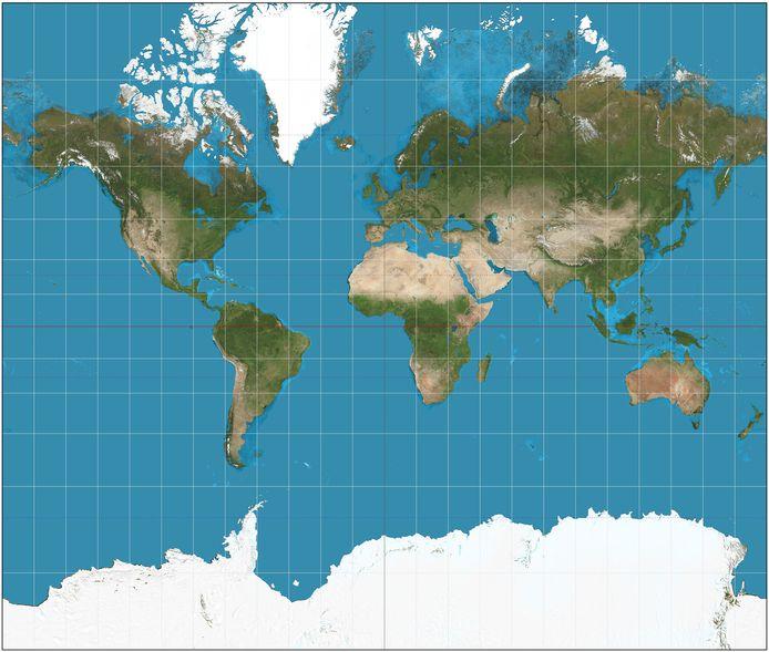 De wereld volgens de mercatorprojectie.