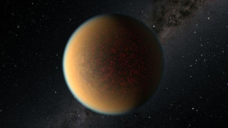 Een artistieke weergave van exoplaneet GJ 1132 b. - De Hubble ruimtetelescoop vond recent bewijs van vulkanische activiteit op deze planeet. Beeld AFP