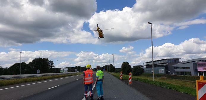 De traumahelikopter is zojuist vertrokken vanaf de A1 bij Rijssen