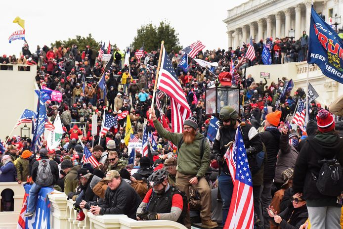 Aanhangers van oud-president Trump tijdens de bestorming van het Capitool op 6 januari van dit jaar.