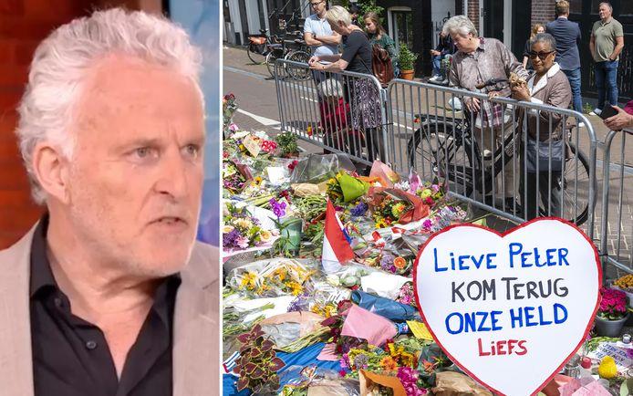 Bloemen, kaarsjes en steunbetuigingen in de Lange Leidsedwarsstraat in Amsterdam.