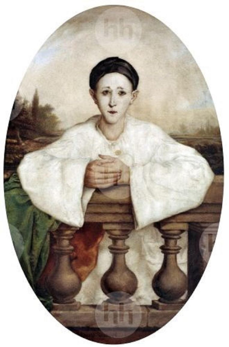 Jean-Gaspard Deburau. 19de-eeuwse Franse mimespeler en pierrot, die in zijn nadagen voor moord werd veroordeeld. Beeld