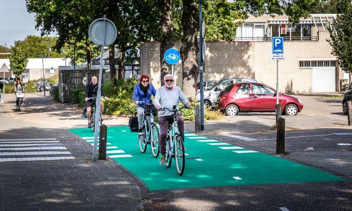 De fietsoversteekplaats aan de Biesbosch in Helmond is felgroen gemaakt.
