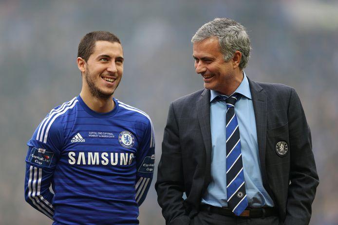 Eden Hazard en José Mourinho.