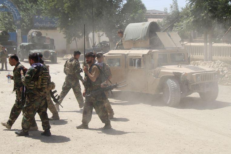 Afghaanse commando's zijn dinsdag in gevecht met Taliban in de provincie Kunduz. Beeld Reuters